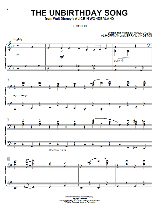 Partition piano The Unbirthday Song de Jerry Livingston - 4 mains