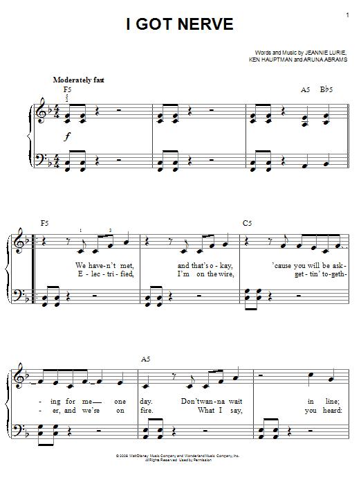 Partition piano I Got Nerve de Hannah Montana - Piano Facile