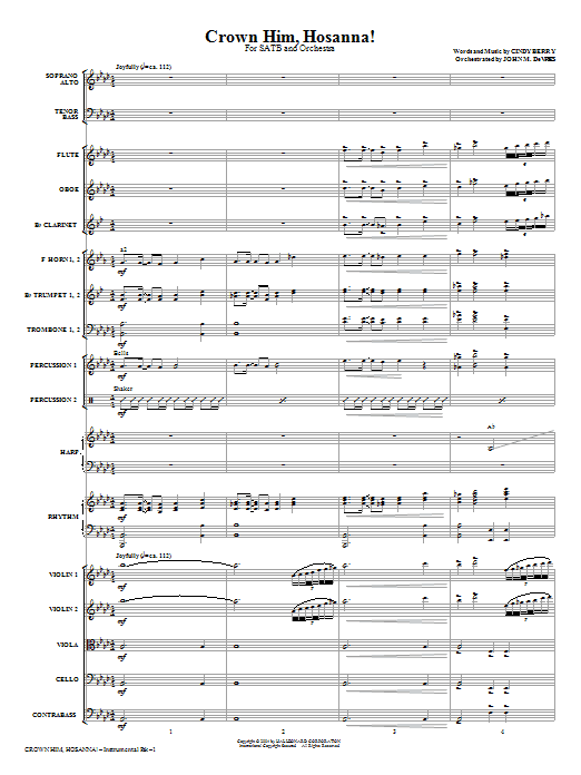 Crown Him Hosanna (COMPLETE) sheet music for orchestra/band (Orchestra) by Cindy Berry. Score Image Preview.