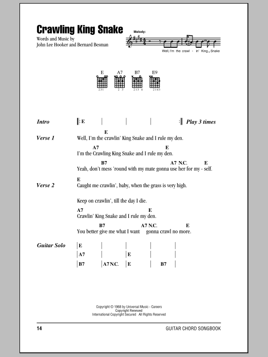 Crawling King Snake Sheet Music