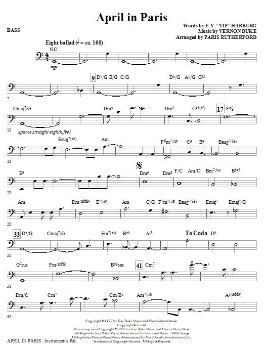 April In Paris - Bass Sheet Music