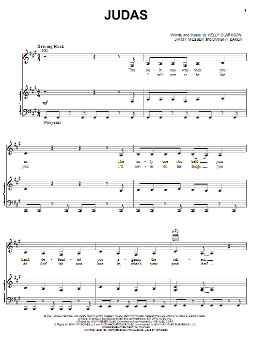 Judas (Piano, Vocal & Guitar (Right-Hand Melody))