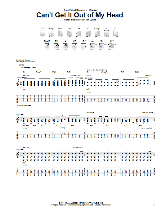 Tablature guitare Can't Get It Out Of My Head de Velvet Revolver - Tablature Guitare