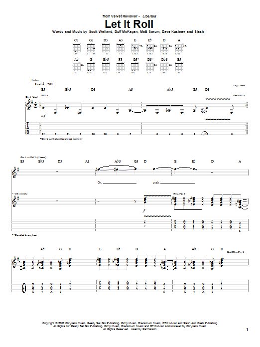 Tablature guitare Let It Roll de Velvet Revolver - Tablature Guitare