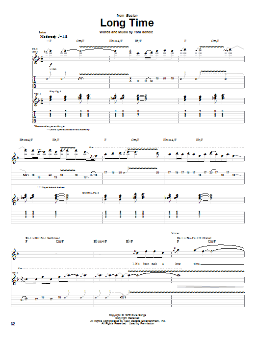 Long Time (Guitar Tab)