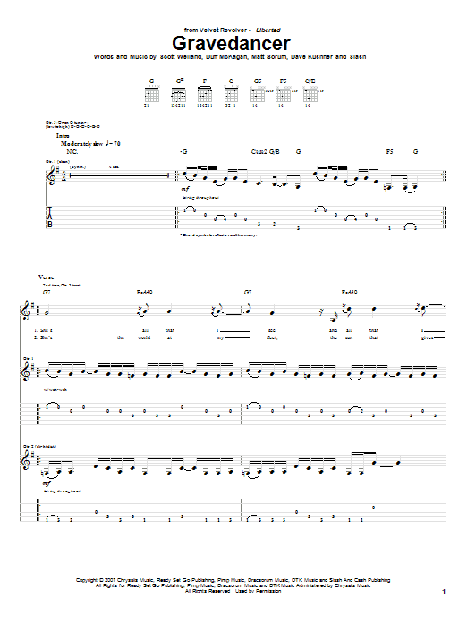 Gravedancer Sheet Music