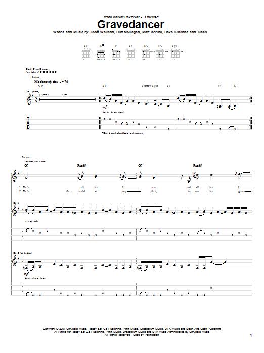 Tablature guitare Gravedancer de Velvet Revolver - Tablature Guitare
