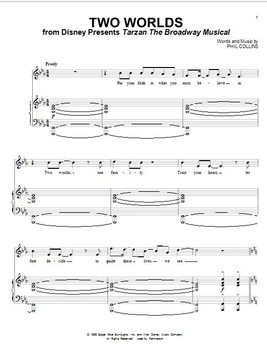 Partition piano Two Worlds de Phil Collins - Piano Voix Guitare (Mélodie Main Droite)