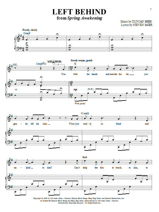 Partition piano Left Behind de Duncan Sheik - Piano Voix Guitare (Mélodie Main Droite)