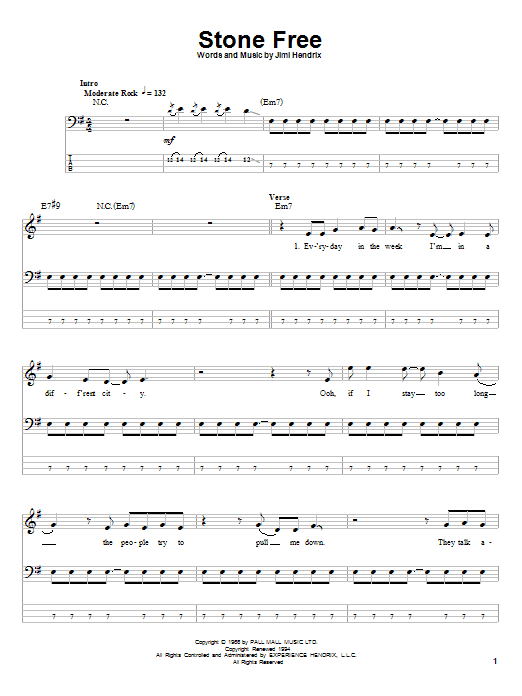 Tablature guitare Stone Free de Jimi Hendrix - Tablature Basse