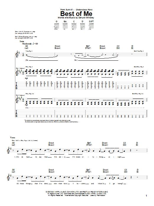 Tablature guitare Best Of Me de Sum 41 - Tablature Guitare