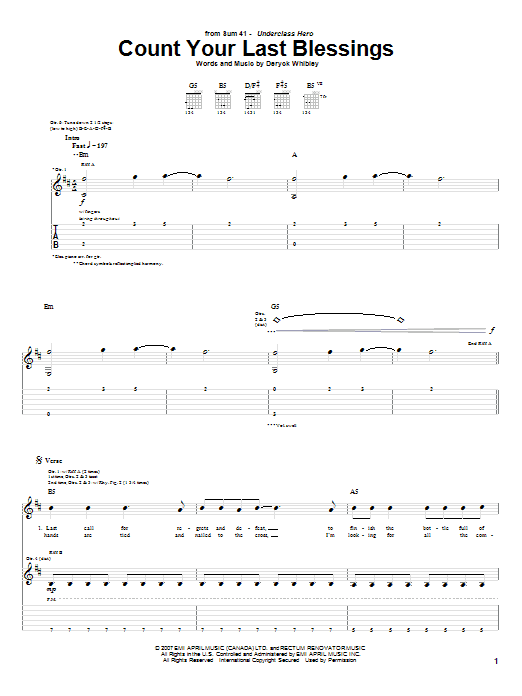Count Your Last Blessings (Guitar Tab)