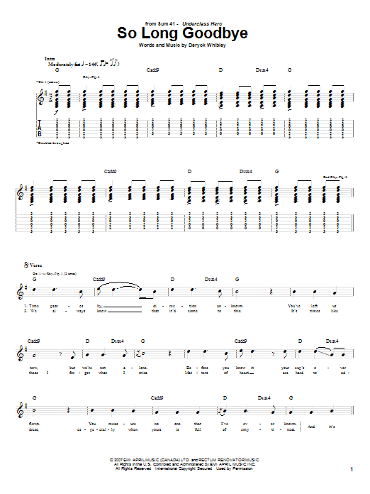 Tablature guitare So Long Goodbye de Sum 41 - Tablature Guitare