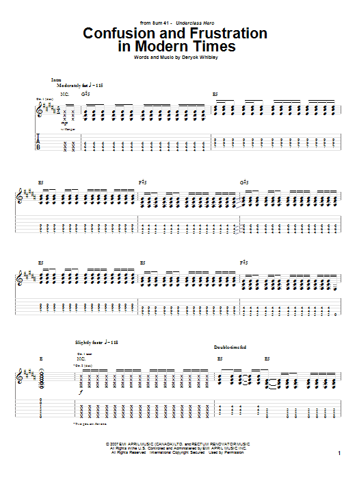 Confusion And Frustration In Modern Times Sheet Music