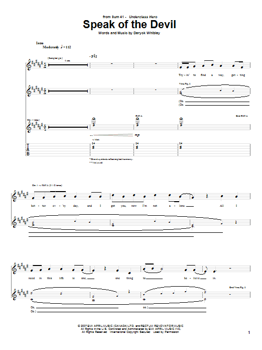 Tablature guitare Speak Of The Devil de Sum 41 - Tablature Guitare