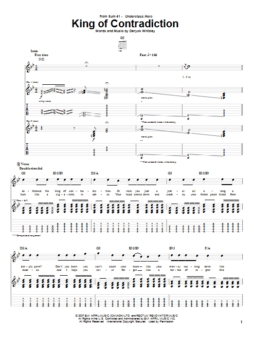 King Of Contradiction Sheet Music