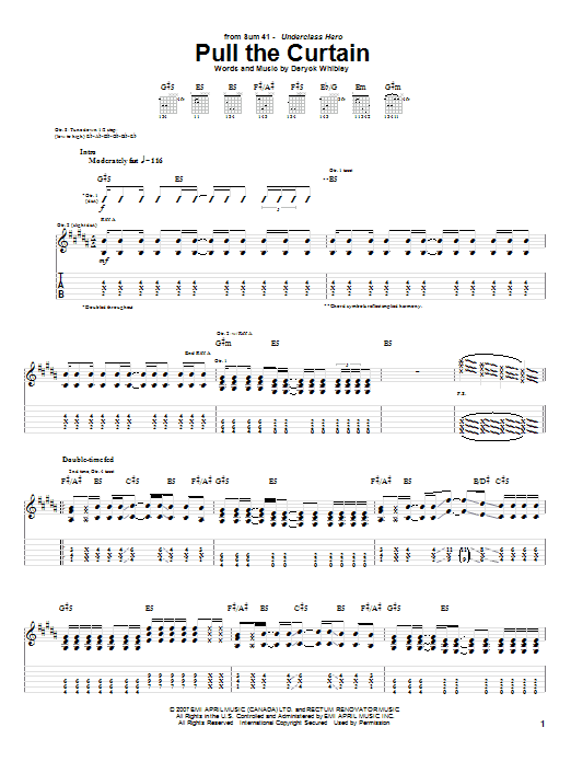 Tablature guitare Pull The Curtain de Sum 41 - Tablature Guitare