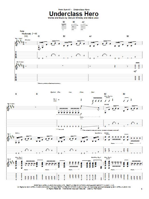 Underclass Hero (Guitar Tab)
