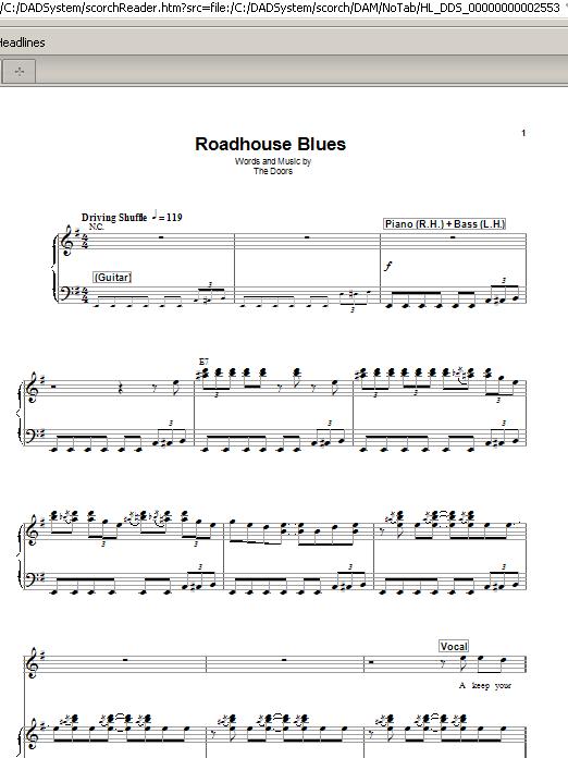 Harmonica Doors Roadhouse The Doors Keyboard Play Along Volume