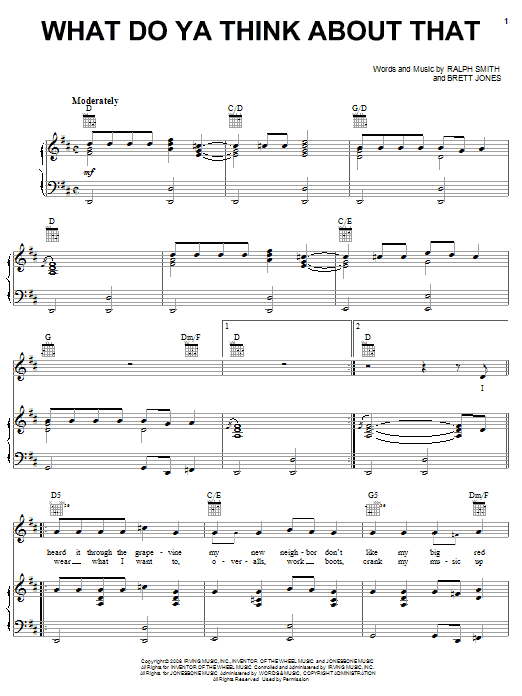 What Do Ya Think About That Sheet Music