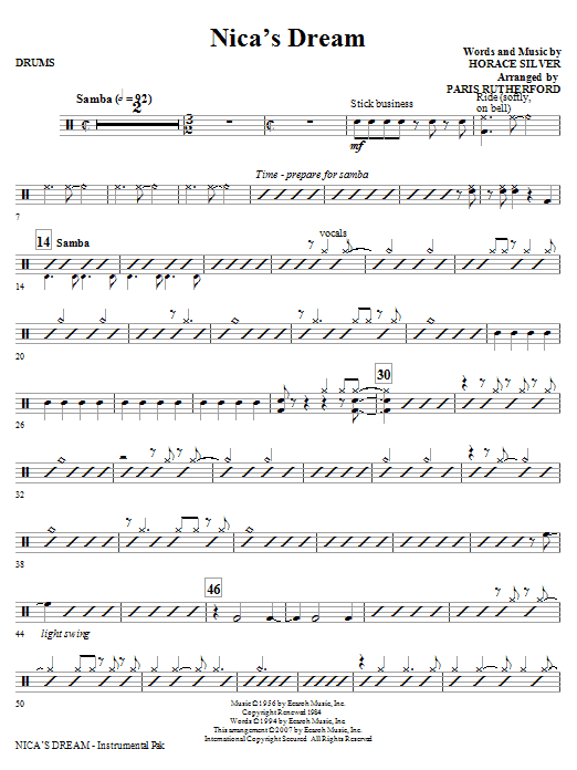 Nica's Dream - Drums | Sheet Music Direct