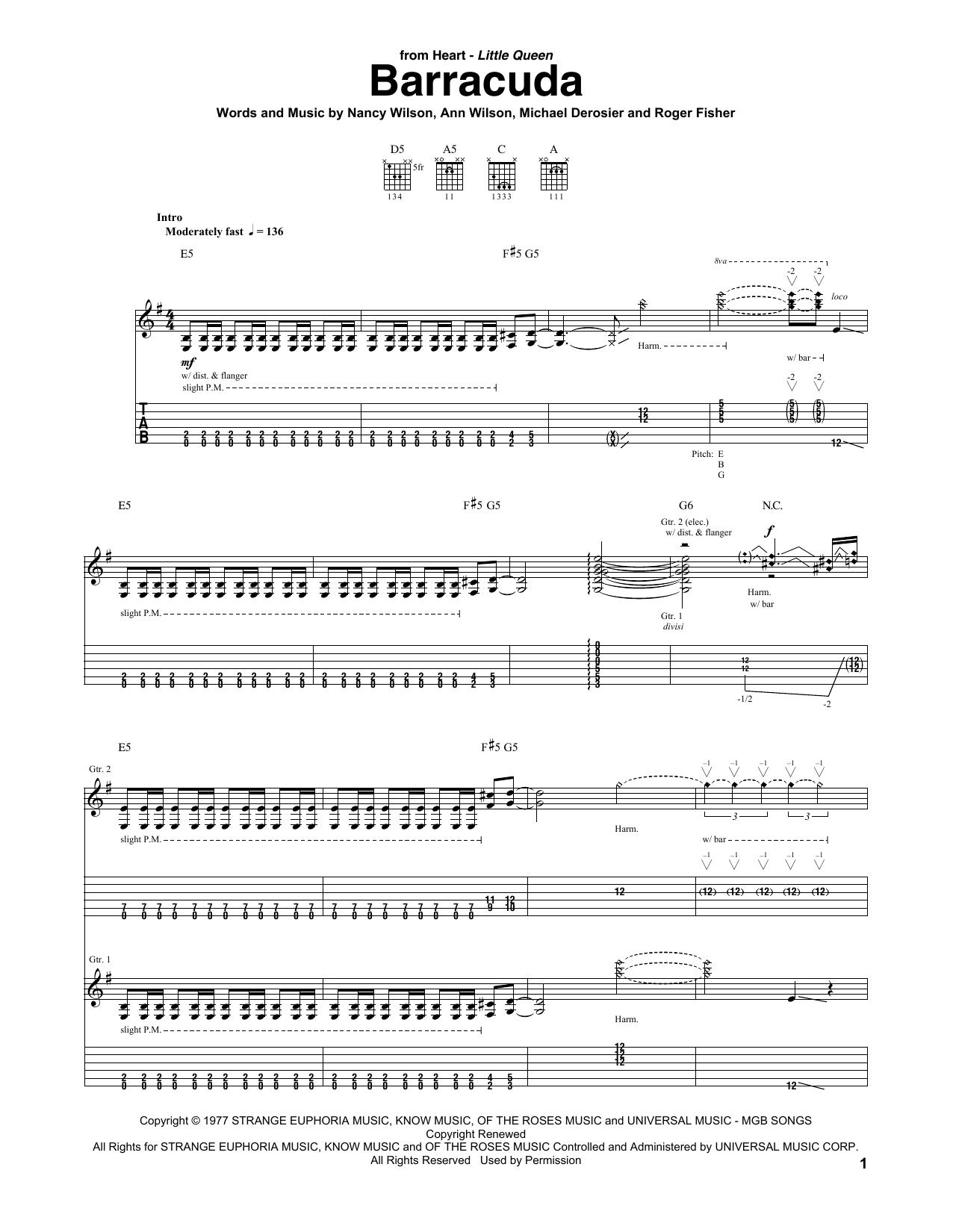 Tablature guitare Barracuda de Heart - Tablature Guitare