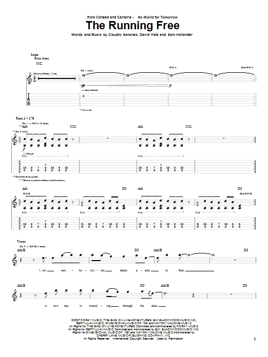 Tablature guitare The Running Free de Coheed And Cambria - Tablature Guitare