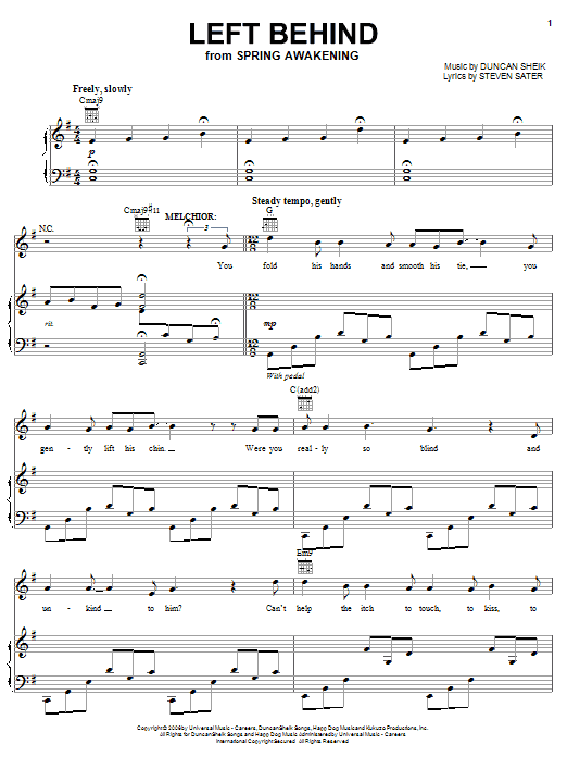 Selections from Spring Awakening (complete set of parts) sheet music for voice, piano or guitar by Duncan Sheik. Score Image Preview.