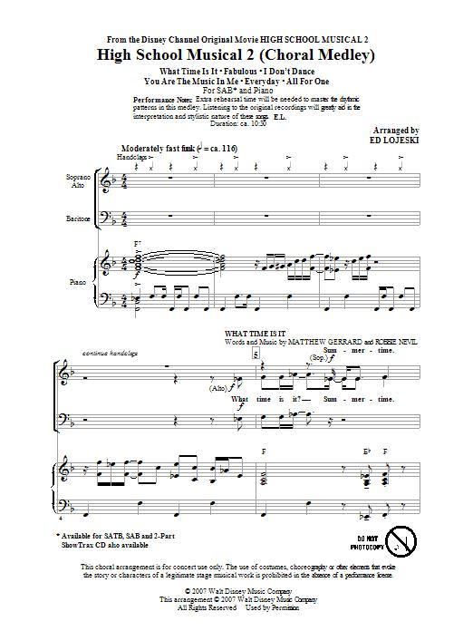 Partition chorale Choral Medley de High School Musical 2 - SAB