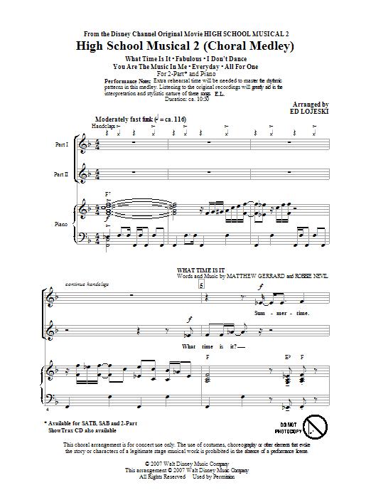 Partition chorale Choral Medley de High School Musical 2 - 2 voix