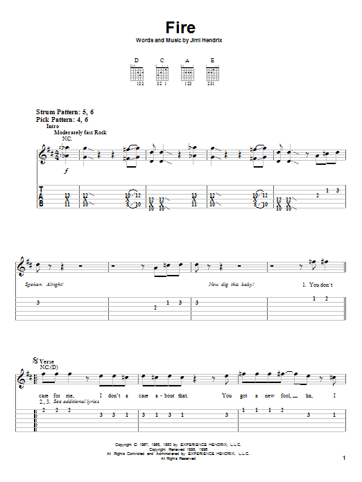 Fire By Jimi Hendrix Easy Guitar Tab Guitar Instructor