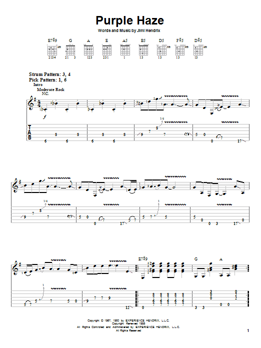 Tablature guitare Purple Haze de Jimi Hendrix - Tablature guitare facile