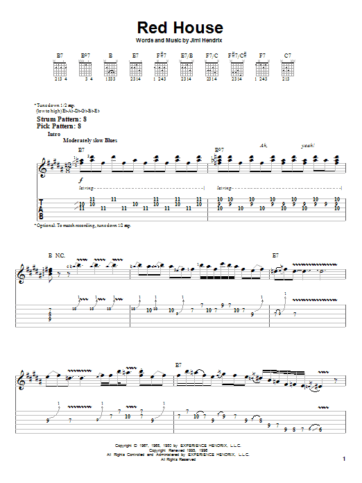 Tablature guitare Red House de Jimi Hendrix - Tablature guitare facile