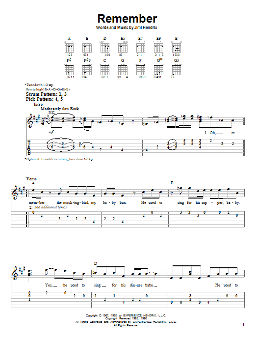 Tablature guitare Remember de Jimi Hendrix - Tablature guitare facile