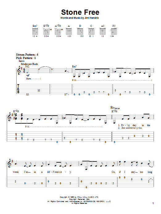 Tablature guitare Stone Free de Jimi Hendrix - Tablature guitare facile