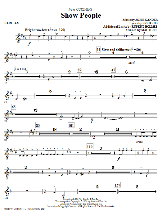 Show People - Baritone Sax (Choir Instrumental Pak)
