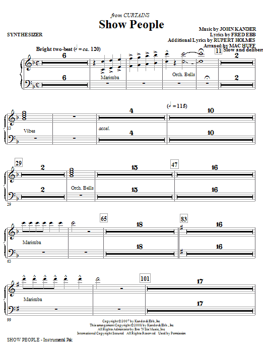 Show People - Synthesizer Sheet Music