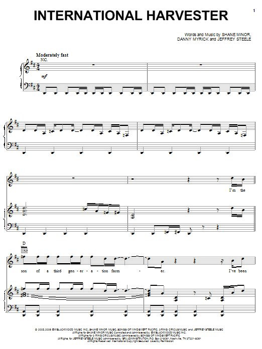 Partition piano International Harvester de Craig Morgan - Piano Voix Guitare (Mélodie Main Droite)