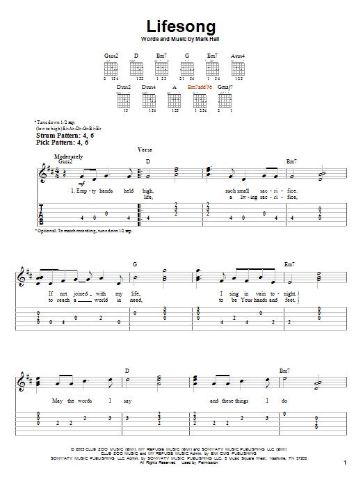 Lifesong (Easy Guitar Tab)