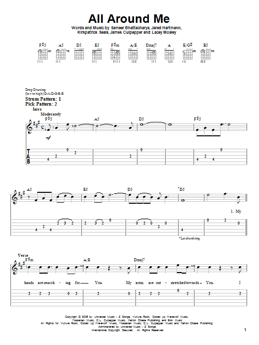 All Around Me sheet music by Flyleaf (Easy Guitar Tab – 63466)