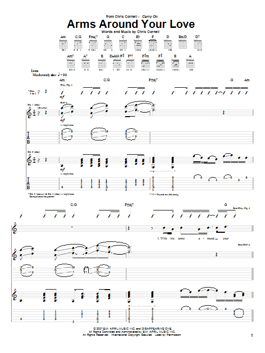 Tablature guitare Arms Around Your Love de Chris Cornell - Tablature Guitare