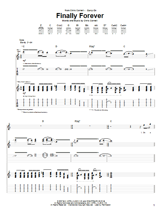 Tablature guitare Finally Forever de Chris Cornell - Tablature Guitare