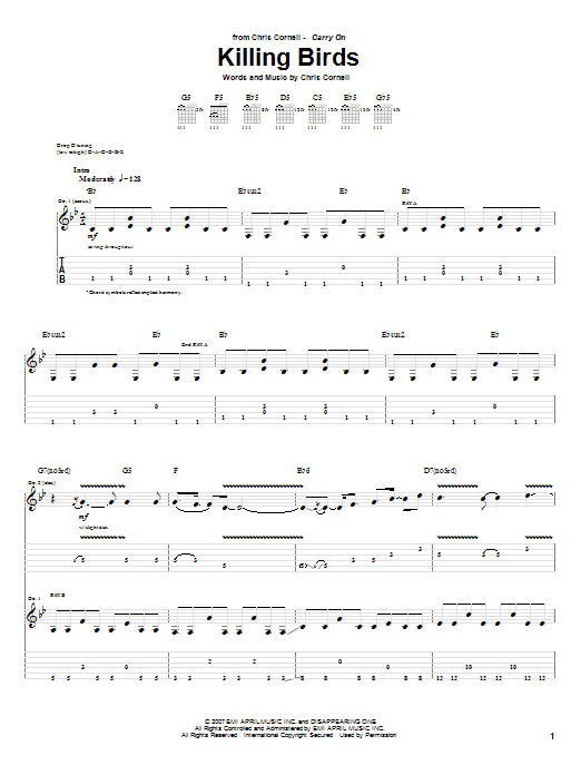 Tablature guitare Killing Birds de Chris Cornell - Tablature Guitare