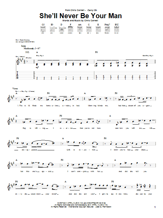 Tablature guitare She'll Never Be Your Man de Chris Cornell - Tablature Guitare
