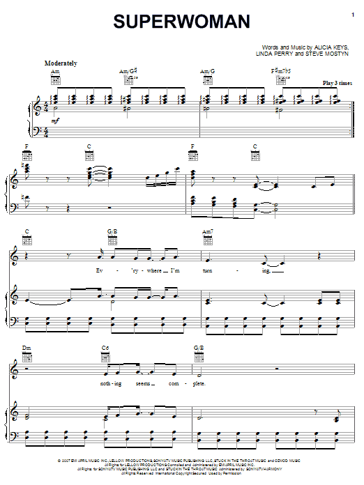 Superwoman Sheet Music