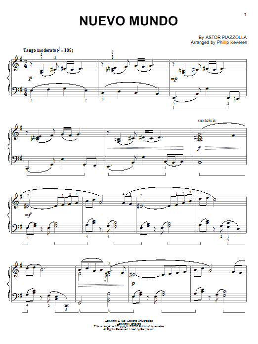Piazzolla Tangos - arr. Phillip Keveren The Phillip Keveren Series Piano Solo by Astor Piazzolla