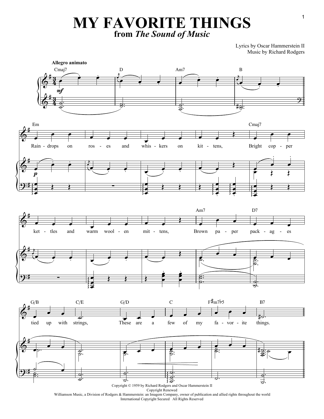 Partition piano My Favorite Things (from The Sound Of Music) de Rodgers & Hammerstein - Piano Voix