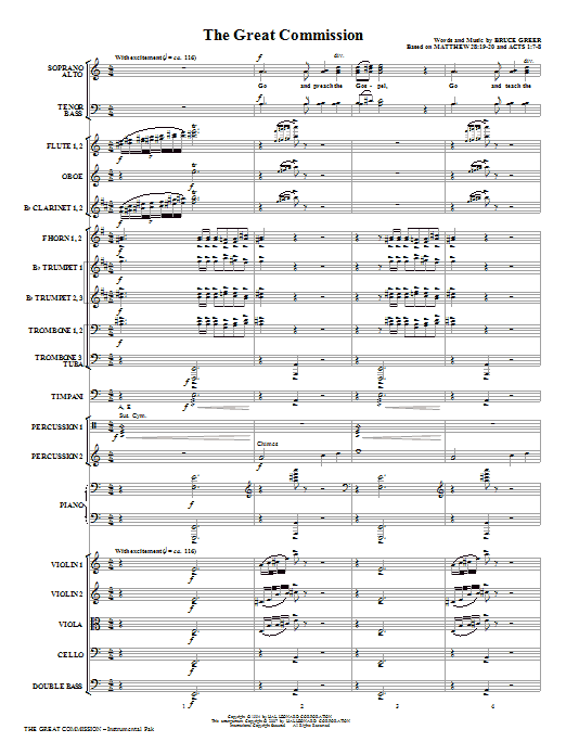 The Great Commission (COMPLETE) sheet music for orchestra/band (Orchestra) by Bruce Greer. Score Image Preview.