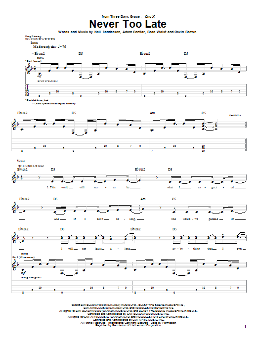 Tablature guitare Never Too Late de Three Days Grace - Tablature Guitare