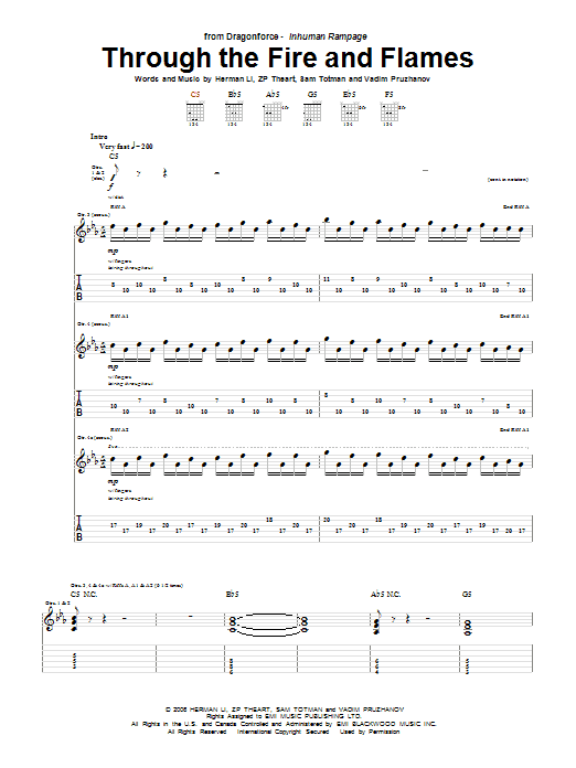 Through The Fire And Flames (Guitar Tab)